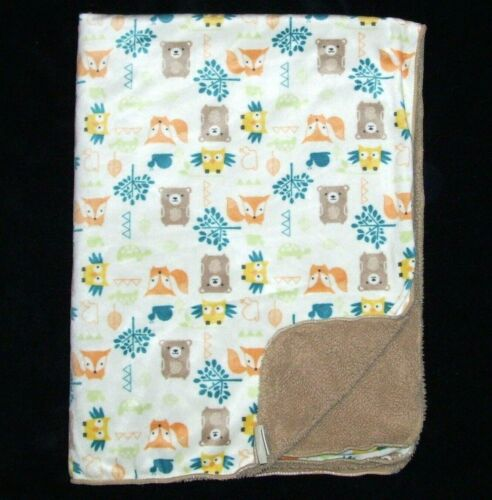 Chick Pea Bear Fox Owl Tree Cream Tan Sherpa Baby Blanket Security Lovey