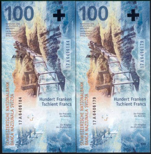 SWITZERLAND 100 FRANCS 2019 (2017) !!!FIRST A SERIES!!! P-NEW UNC