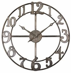 Large 32 Open Bronze Contemporary Wall Clock | Round Metal Mid Century Modern
