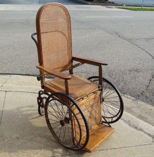 "Antique Hand Made 53"" Cane Back Convalescent Sanitarium Asylum Bedpan Wheelchair"