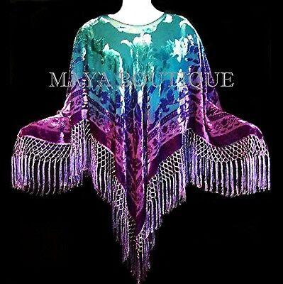 Purple Aqua Hand Dyed Poncho Shawl Top Silk Velvet Wearable Art Maya Matazaro
