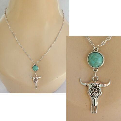 Necklace Steer Skull Western Bull Cowgirl Pendant Silver Cow Southwestern Chain