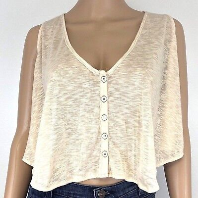 Loose Fit Crop (Free People Crop Top Beige Burnout Loose Fit V-Neck Boho Peasant Size Xs)