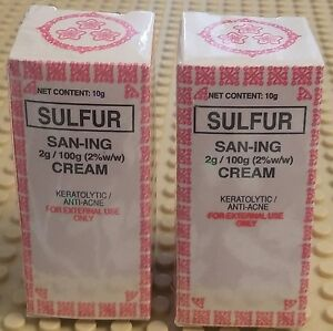SULFUR SAN-ING MEDICATED CREAM ANTI ACNE PIMPLES BLEMISHES LOT OF TWO