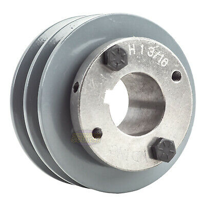 Cast Iron 3.5 2 Groove Dual Belt A Section 4l Pulley And 1-316 Sheave Bushing