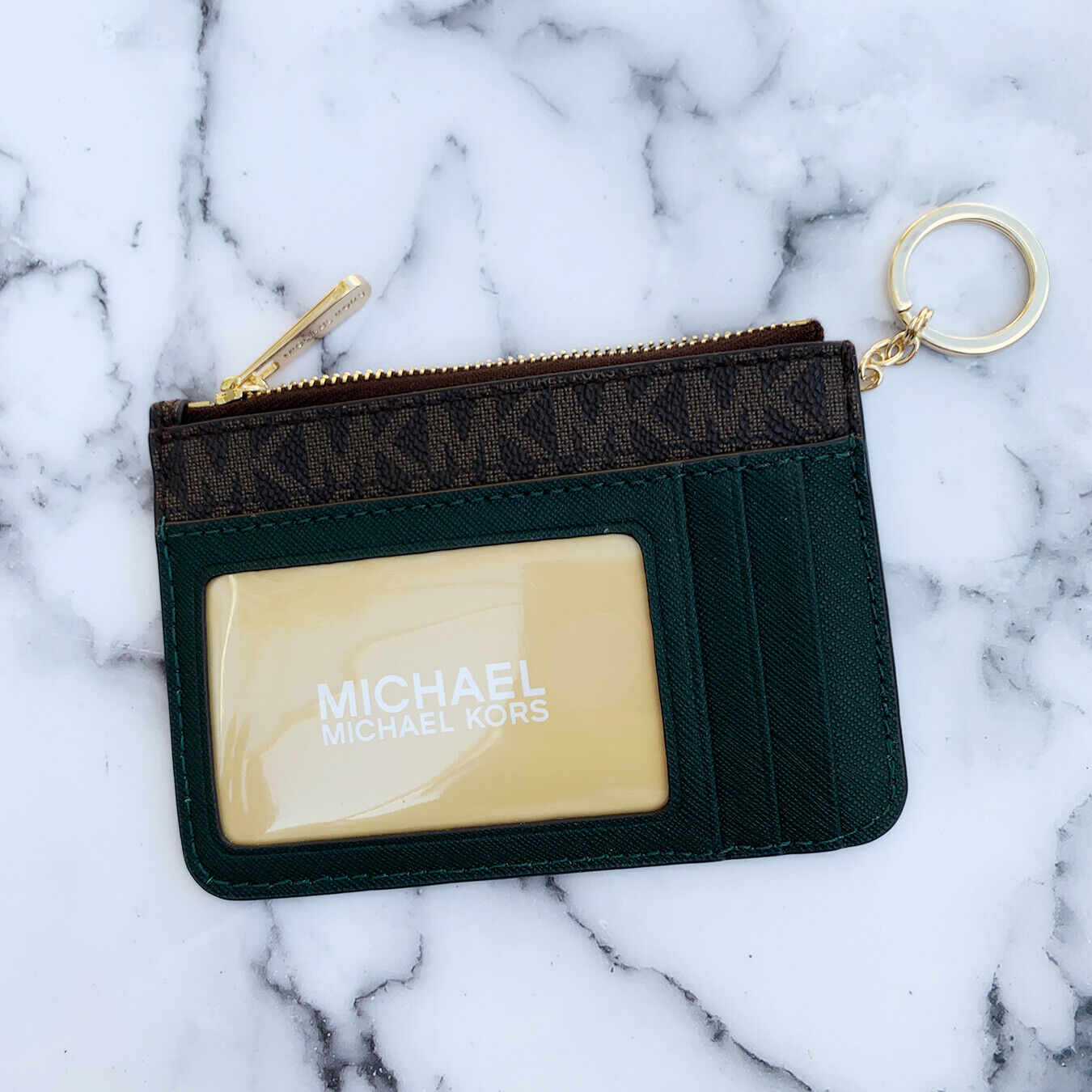 Michael Kors Jet Set Travel Small Top Zip Coin Pouch ID Holder Key Ring Wallet Brown Racing Green