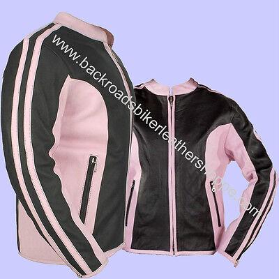 Ladies Black & Pink Cowhide Leather Racer Style Biker Jacket – Sizes -