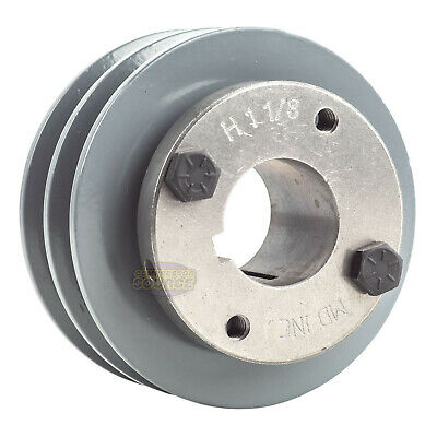 Cast Iron 3.5 2 Groove Dual Belt A Section 4l Pulley With 1-18 Sheave Bushing