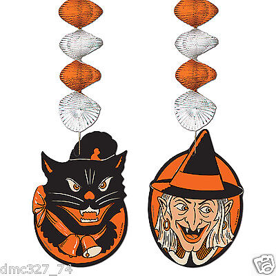 HALLOWEEN Decoration WITCH BLACK CAT DANGLERS Vintage Beistle 1952 Reproduction
