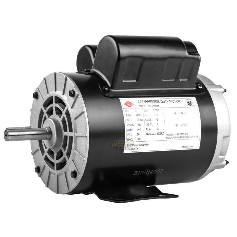 """3 HP 3450 RPM Electric Motor Compressor Duty 56 Frame 1 Phase 5/8"""" Shaft 230 V"""