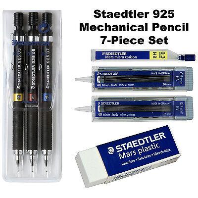 Staedtler 925 0.3mm 0.5mm 0.7mm Mechanical Pencils Leads Eraser 7-piece Set