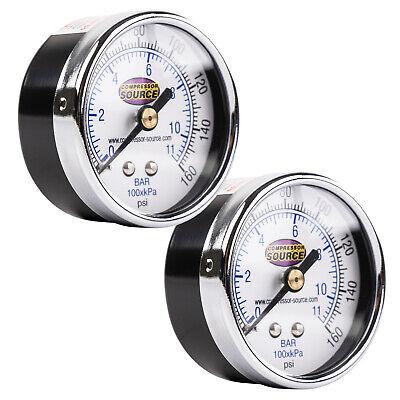 0-160 Psi Air Pressure Gauge 14 Npt Center Back Mount Cbm 2 Face 2 Pack