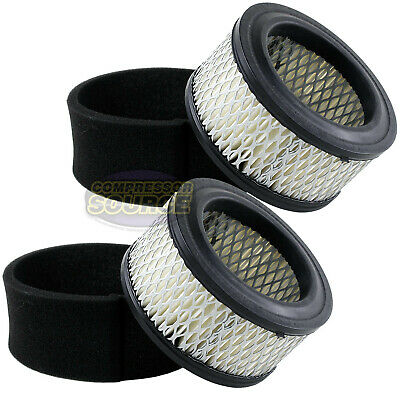 2 New Air Compressor Air Intake Filter Elements With Pre-filters