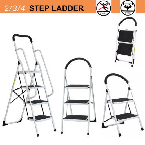 2/3/4  Folding Step Ladder Anti-Slip Platform W/ Soft Grip Handle Home Outdoor