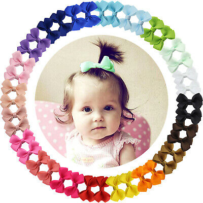 Boutique For Girls (40pcs Boutique 2 Inch Hair Bows Fully Lined Clips for Baby Girls Toddler)