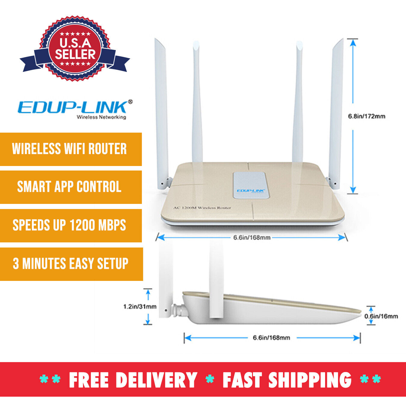 WiFi Router AC1200 Wireless Router Wi-Fi High Speed Dual