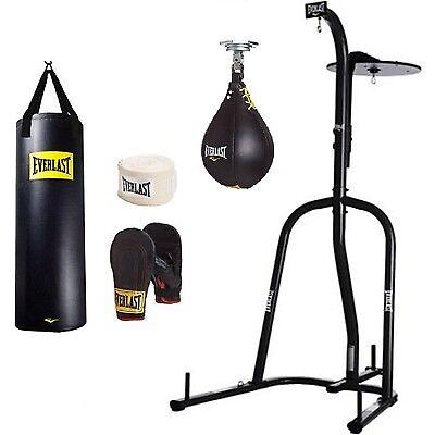 Everlast Dual Station Heavy Bag Stand 100-lb. Punching Boxing Kit Speedbag