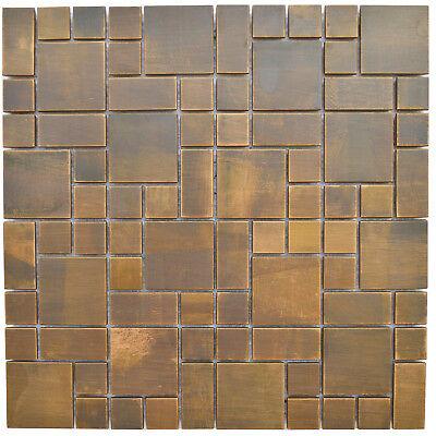 (Kitchen Bath Backsplash Fireplace Cobble Pattern Antique Copper Mosaic Wall Tile)