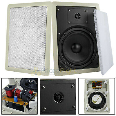 """2 Pack 6.5"""" 2 Way In Wall Speakers 100 Watts Max 8 Ohm Mtx A"""