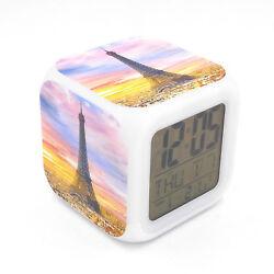 Eiffel Tower Sun Led Alarm Clock Creative Desk Digital Clock for Adults Kids Toy