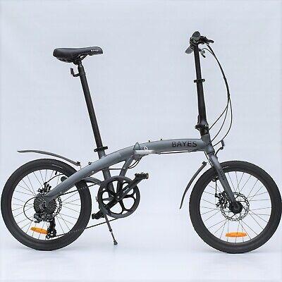 "Aluminio Bicicleta Plegable 20"" 8 Gang Shimano Freno de Disco Gris Mate Nuevo"