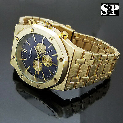 Men Gold Plated Stainless Stiletto Blue Dial Designer Style Metal Team up Dress Watch