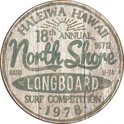NORTH SHORE LONGBOARD ROUND TIN SIGN HALEIWA HAWAII OAHU COMPETITION 1978