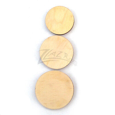 "100 5/8""+1/2""+3/8""x1/8""Combo Multi-Size Wooden Circle Craft Disc Hard Wood Shape"