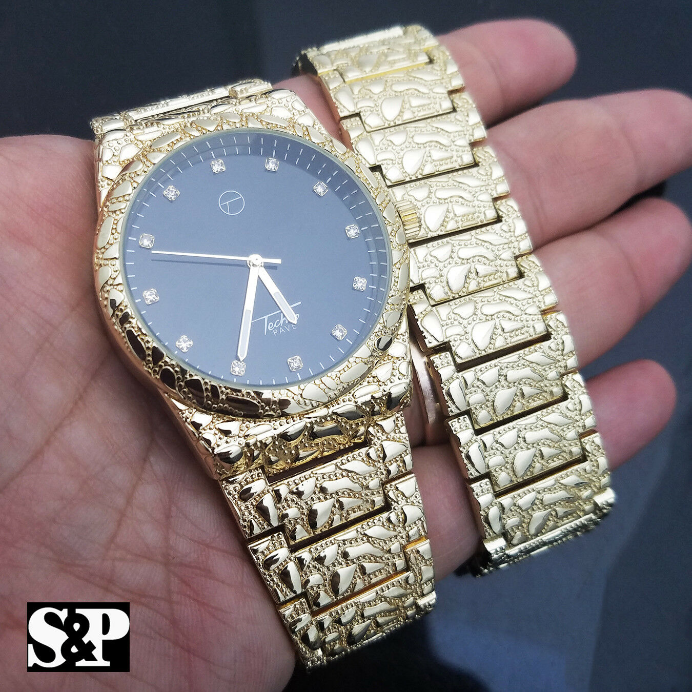Men Iced Out Gold Plated Urban Style Golden Nugget Watch