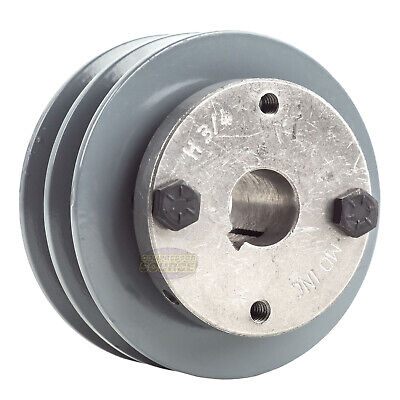 Cast Iron 3.5 2 Groove Dual Belt A Section 4l Pulley With 34 Sheave Bushing