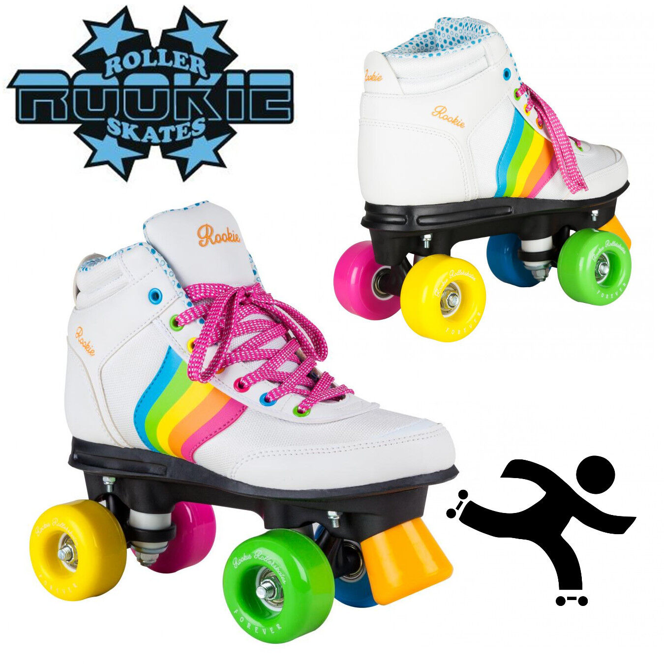 eed98041764 Details about Rookie Roller Skates Forever Rainbow V2 White Retro Style  Girls Adults