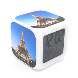 Led Alarm Clock Eiffel Tower Light Creative Digital Desk Clock for Kids Toy Gift