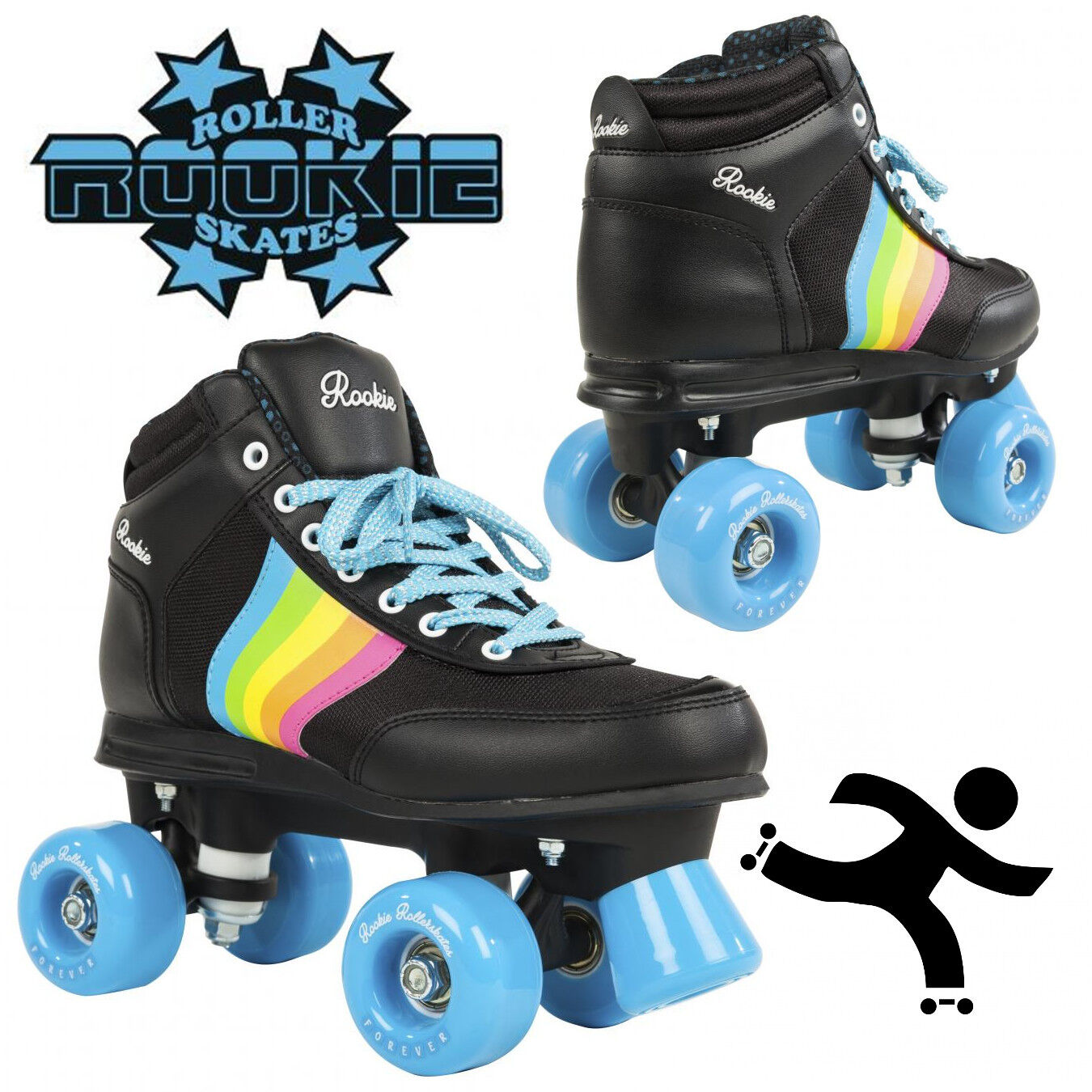 72e87f9b343 Details about Rookie Roller Skates Forever Rainbow V2 Black Retro Style  Girls Adults