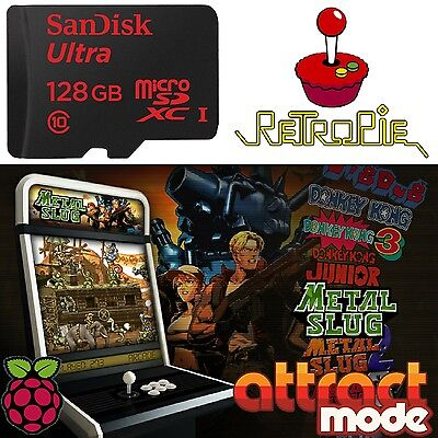 128GB SD-Card Retropie, Console & Arcade,KODI, Games 12,000+ for Raspberry Pi 3