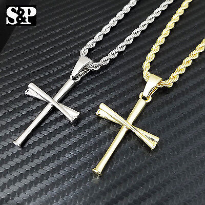 "Unisex Fashion Baseball Team Triple Bat Pendant w/ 4mm 24"" Rope Chain Necklace"