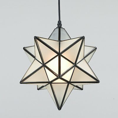 """Moroccan Moravian Star 12"""" Frosted Glass Pendant Foyer Kitchen Ceiling Light"""