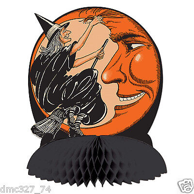 HALLOWEEN Decoration WITCH & MOON Centerpiece Vintage Beistle 1930 Reproduction