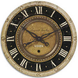 Auguste Verdier Script Wall Clock Black Gold 27D Round Tuscan Vintage Paris