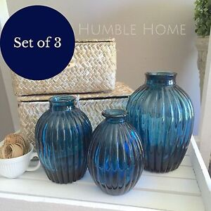 Set of 3 Blue Glass Vases/Ribbed Glass/Hampton's/Coastal Decor/French Provincial