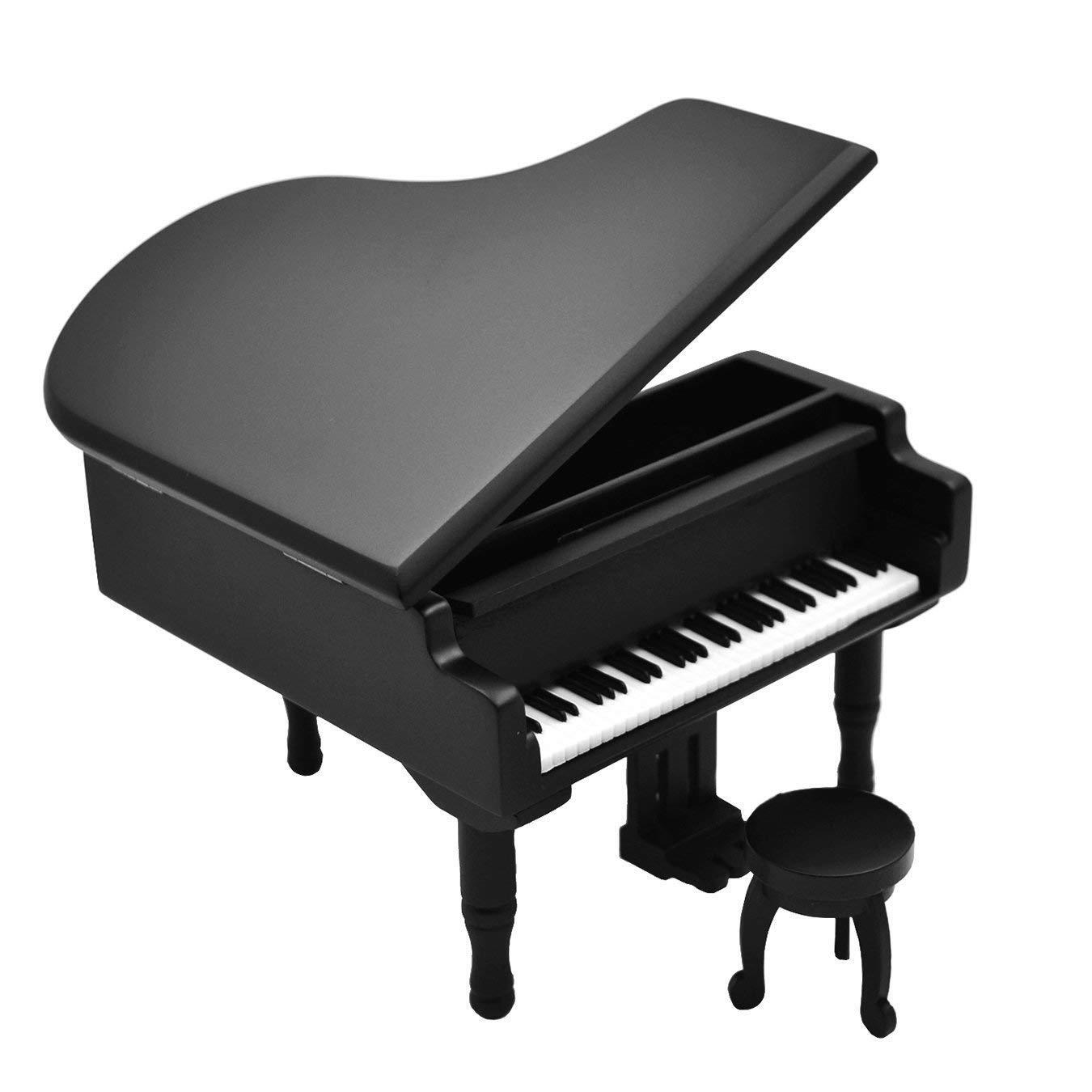 Sky Mini Cute Wood Piano Music Box with Delicate Bench White Color