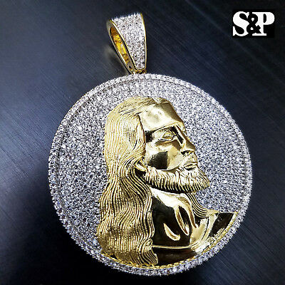 HIP HOP ICED OUT 14K GOLD PLATED BRASS MICRO PAVE JESUS FACE MEDALLION PENDANT - Jesus Face Pendant