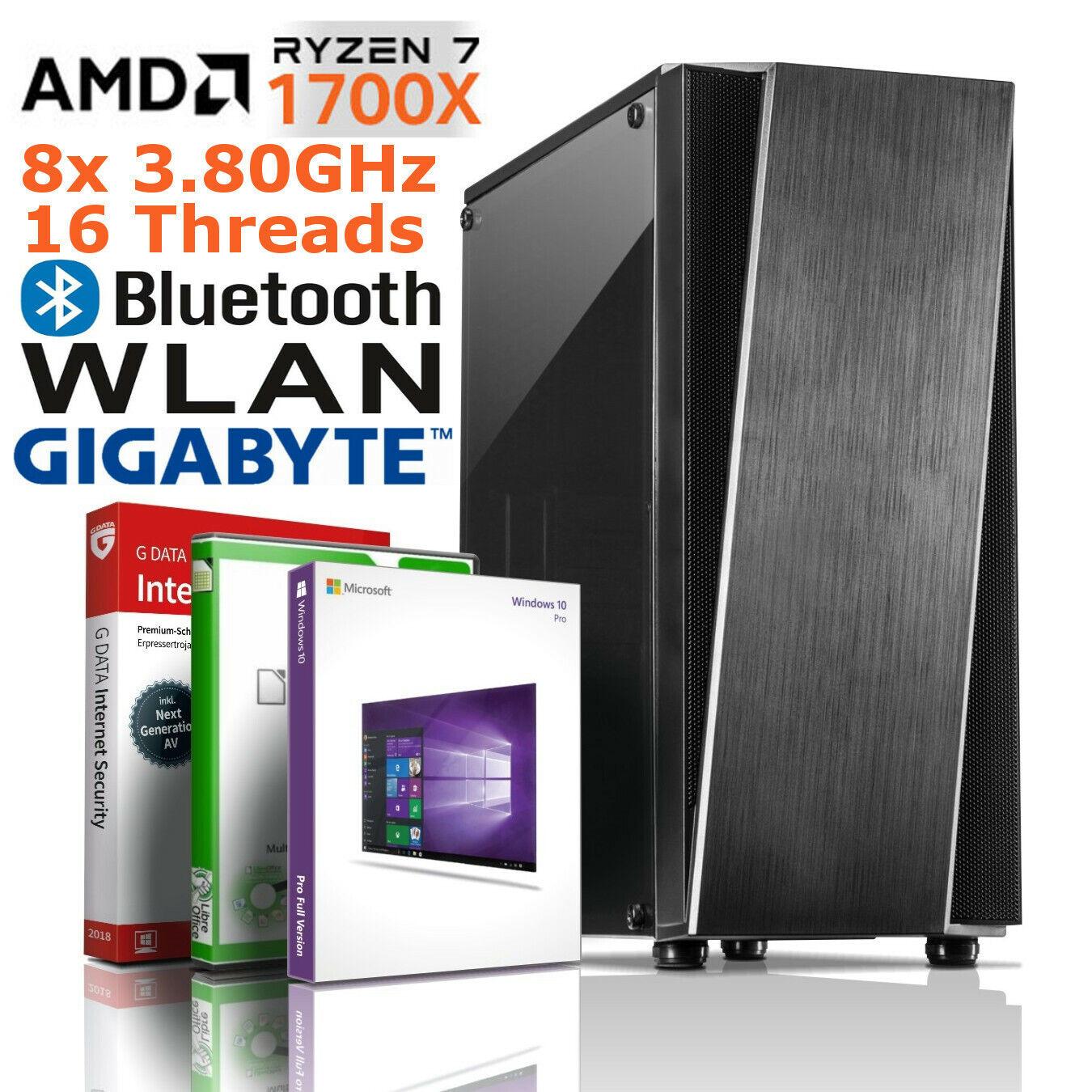PC AMD RYZEN 7 1700X 8 Kerne 8x3.80GHz 32GB DDR4 SSD GTX RX Windows 10 Computer