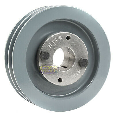 Cast Iron 5 2 Groove Dual Belt A Section 4l Pulley W 1-18 Sheave Bushing