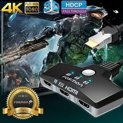 Fosmon 3x1 3 Port 4K 3D Ready HDTV Compact Auto HDMI Switch Hub Splitter Adapter