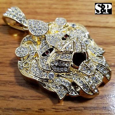 HIP HOP ICED OUT RAPPER STYLE LAB DIAMOND GOLD PLATED LARGE LION HEAD PENDANT (Lions Hip Hop)