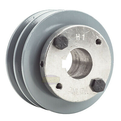 Cast Iron 3.5 2 Groove Dual Belt A Section 4l Pulley With 1 Sheave Bushing