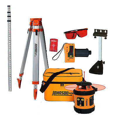 Leveling Rotary Laser System Tripod Measuring Grade Rod Carry Case Layout Tool