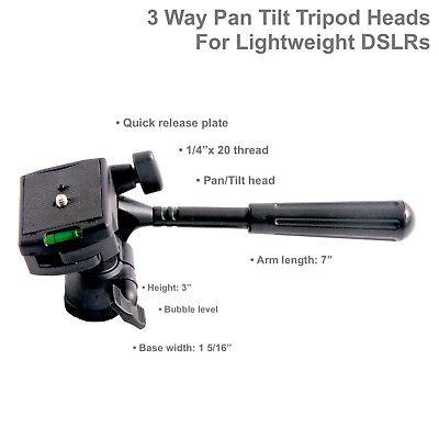 3 Way Video Pan Tilt Tripod Head for Lightweight Camera, DSLR, DV, Mount, Stand