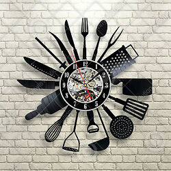 Modern Design Cutlery Kitchen Utensil Wall Clock Spoon Fork Clock Vinyl