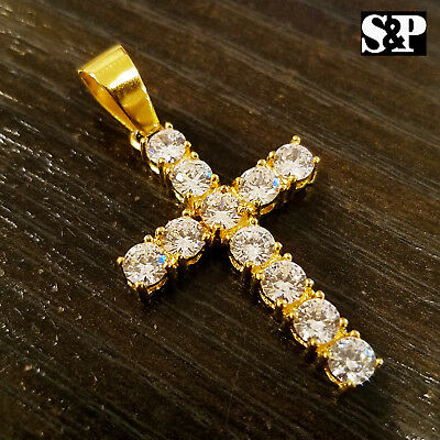 HIP HOP BLING STAINLESS STEEL ICED OUT LAB DIAMOND GOLD PLATED CROSS PENDANT